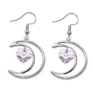 Silver Tone Crescent Moon Crystal Heart Earrings
